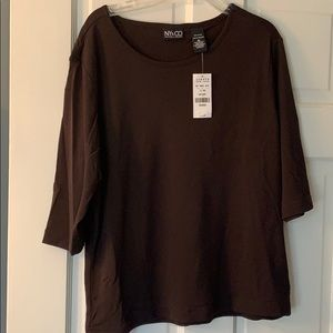 Vintage NY&Co. XL nylon brown blouse.